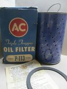 Ac Triple Trapper Oil Filter P-113 5572501 Nos Vintage With Gasketandinstructions