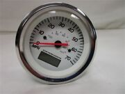 Speedometer W/ Digital Hour Meter White Face And Silver Bezel 781513pdfb Boat