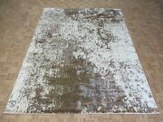 8'11 X 11'7 Hand Knotted Brown Modern Abstract Oriental Rug With Silk G8174