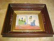C 1860 Antique East Lake Deepwell Frame With Oil Painting Inlaid Walnut Framing