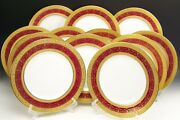 Beautiful Bavaria Hutschenreuther Gold Encrusted Dinner Plates Set Of 12
