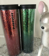 Starbucks 2019 Holiday Hot Or Cold Cup 16oz Tumbler Red And Green Glitter 🎄