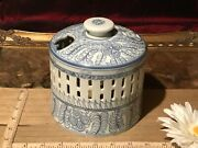 Replacement Lid, Asian Porcelain Blue And White Pierced Incense Burner 8x5 3/8