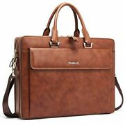 Cluci Women Leather Briefcases Slim Large Business 15.6 Inch Laptop Vintage S...