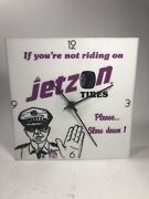Vintage Tire Clock Jetzon Tires Advertising Sign Police Officer Slow Down Cop