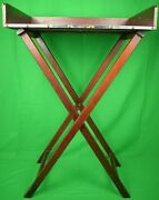 Abercrombie And Fitch Bar Tray W/ Xand039d Wooden Leg Stand