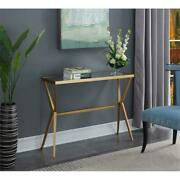 Convenience Concepts Saturn Console Table In Gold Metal Finish And Glass Shelf