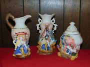Vintage Teapot With Milk Creamer And Sugar Set Dutch Kissing Boy And Girl