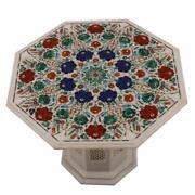 30 Marble Table Top Semi Precious Stone Floral Inlay With Marble Stand