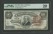 Fr293 10 1886 Silver Cert Tombstone Note Pmg 20 Vf++ Wlm9672