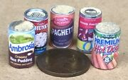 112 Scale Selection Of 5 Mixed Food Tins Tumdee Dolls House Miniature Cans Mt1
