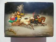 Antique Vintage Russian Lacquer Box Signed Horse Drawn Sleigh Winter Scene