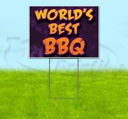 World's Best Bbq 18x24 Yard Sign With Stake Corrugated Bandit Business Barbecue