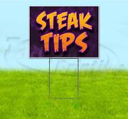 Steak Tips 18x24 Yard Sign With Stake Corrugated Bandit Usa Business Barbecue