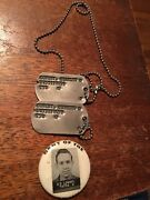 2 Sets Of Vintage Us Army Dog Tags Charles Lowery With Photo Dept. Of The Army