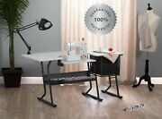 Sewing Machine Table Multi Functional Hobby Craft Center White Drop Leaf Desk Us