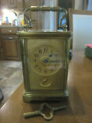 Antique French Miniature Brass Carriage Clock 8 Day Time And Strike And Alarm