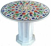 30 Marble Center Coffee Table Top Inlay Handicraft With Marble Stand