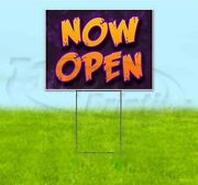 Now Open 18x24 Yard Sign With Stake Corrugated Bandit Usa Business Barbecue