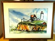 Whimsical Watercolor Painting Nubble Light Lighthouse York Maine By Laura Loth