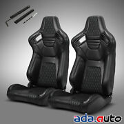 2 X Reclinable Pvc Main Black Sitching Left/right Sport Racing Seats Slider