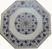 42 Table Top Marble Lapis Inlay Pietra Dura Floral Work Home And Garden Decor
