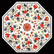 42 Semi Precious Stones Center Marble Floral Inlay Table Top Handcrafted Work