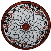 48 White Marble Center Coffee Table Top Marquetry Floral Inlay Art Home Decor