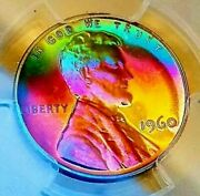 Pcgs Pr67rb 1960 Andbull Lincoln Cent Large Date Andbull 2 Sided Amazing Rainbow Toned