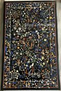 48 X 30 Black Marble Coffee Table Top Inlay Handmade Work For Home Decor
