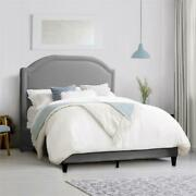 Corliving Light Gray Fabric Bed Frame With Arched Headboard - Queen