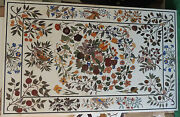 48 X 32 Marble Coffee Table Top Inlay Handicraft Art For Home Decor And Garden