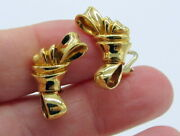 And Co Rare Vintage 1988 Large 18k Yellow Gold Ribbon Bow Clip On Earrings