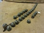 Vintage Leather Strap Of 26 Brass Bells Ornate Antique Horse Buggy Wagon 3366