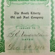 1908 South Liberty Oil And Fuel Co Stock Certificate Basil Ohio Vanarsdalen