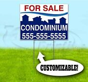 Condominium For Sale Custom 18x24 Yard Sign With Stake Realtor Real Estate