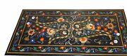 48 X 24 Black Dining Table Top Marble Inlay Pietra Dura Art For Home And Garden