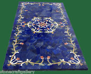 48 X 24 Marble Table Top Lapis Marquetry Floral Inlay Art Home And Garden