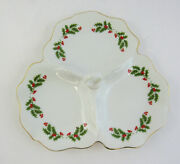 Kashima Christmas Holly Fine Porcelain Divided Tibet Tray With Handle