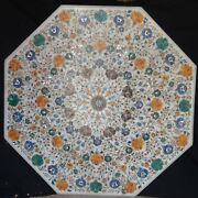 42 White Marble Coffee Table Top Inlay Pietra Dura Marquetry Art Work Decor