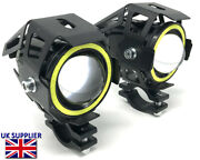 Projector 10w Led Spotlights + White Halo Rings For Bmw Gs Adventure 1150 And 1200