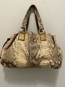 Beige And Brown Python Satchel Made In Italy