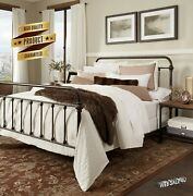 Metal Bed Frame King Farmhouse Vintage Iron Rustic Bronze Modern Country Style