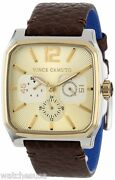 Vince Camuto Menand039s Vc/1024chtt The Sergeant Square Two-tone Multi-function Watch