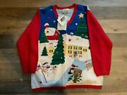 Vintage Quacker Factory Qvc Ugly Christmas Sweater Cardigan Size Xl New With Tag