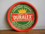 Rare Old Duralex Glassware Advertising Tin Tray Of 60and039s Made In France.