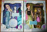 Disney Store Frozen Singing Elsa And Anna Deluxe Doll Set Menzel Bell Real Voice