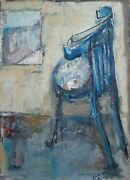 Yael Keinan 1933-, Oil On Canvas, Interior With A Chair, Signed, Expressionist