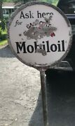 Rare Mobiloil Gargoyle Porcelain Double Sided Curb Sign On Pole Stand Available