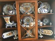 Lg Lot Vestal Alcobaca Hand Painted Pottery From Portugal Light Blue Collection
